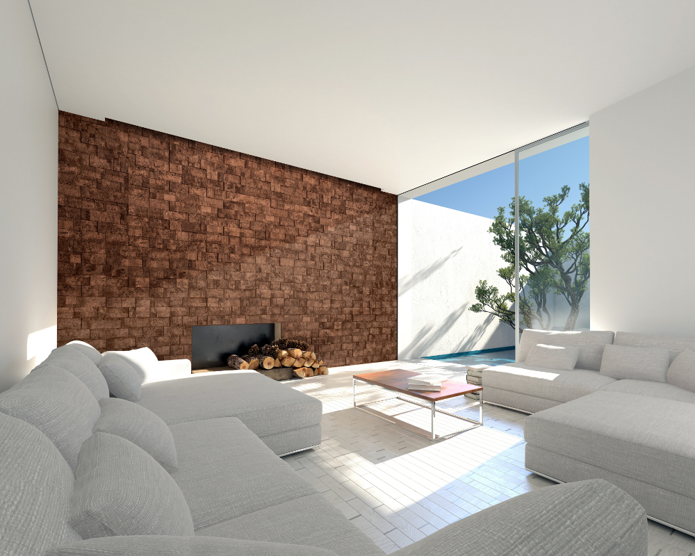Cork Bricks  - Cork Wall Covering with Natural Metallic Granules from Muratto