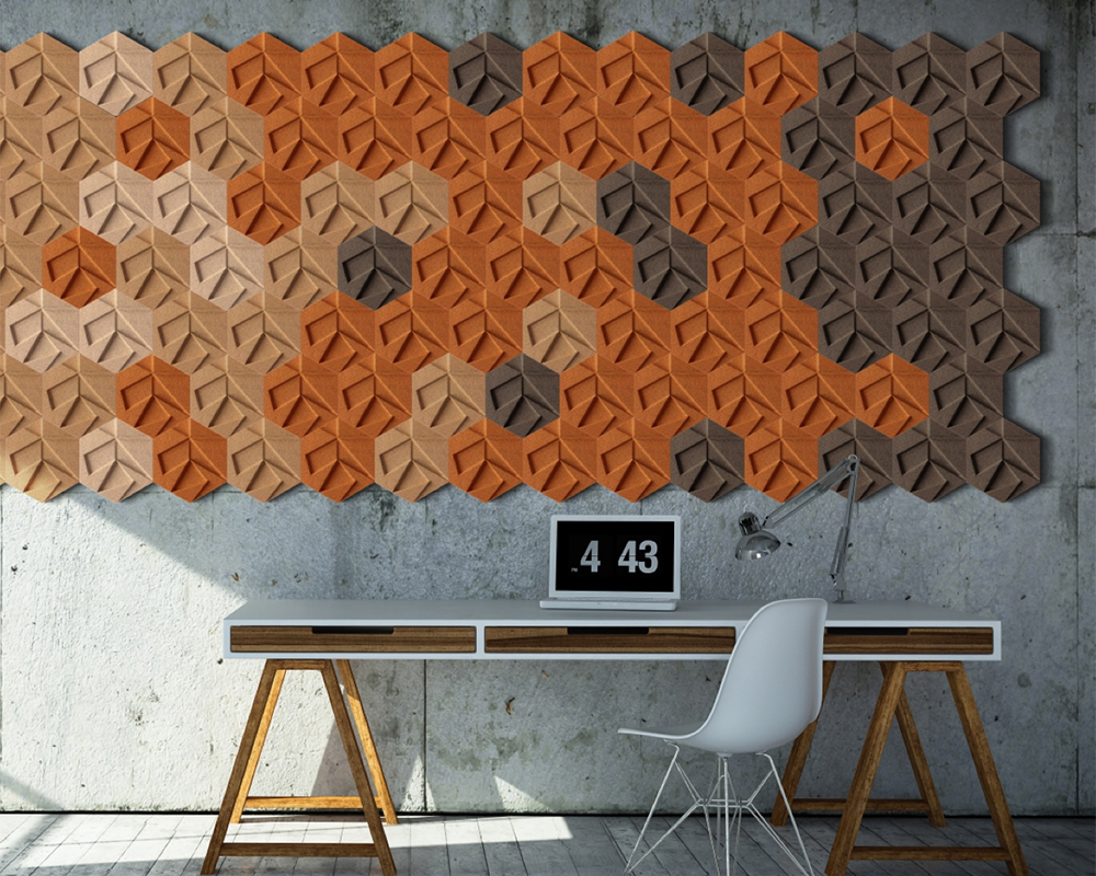 Organic Design Blocks - Geometric-Shaped Modern, Molded Cork Wall Covering from Muratto